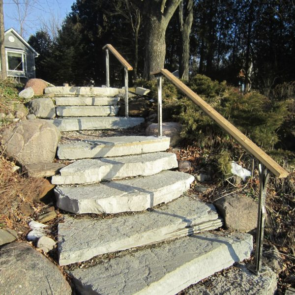 Orillia Custom Railings | Lake Front Staircase with Forged Railings