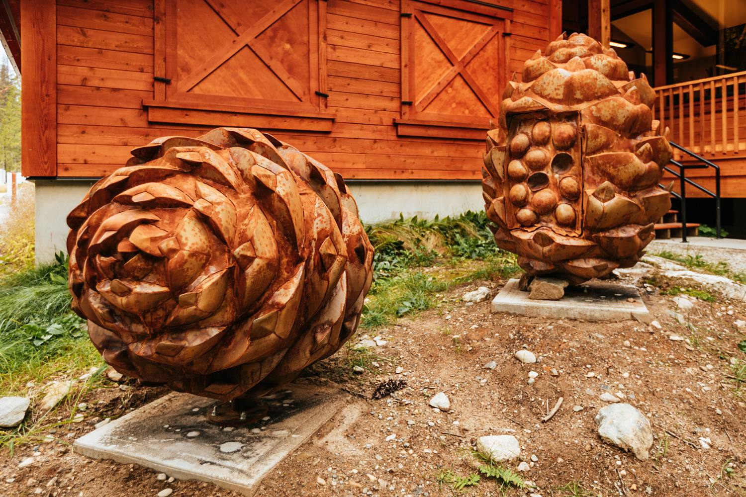 large-whitebark-pinecone-scultpture-made-of-metal-on-display-in-mount-revelstoke-national-park-british-columbia-by-canadian-artist-kyle-thornley